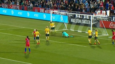 Ellie Carpenter managed to clear the ball off the line.