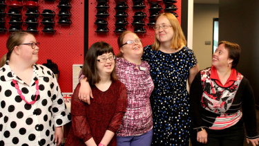Dr Ellen Skladzien, second from right, of Down Syndrome Australia with members of the Down Syndrome Advisory Network in Sydney.