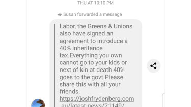 One of the texts claiming that Labor supports an inheritance tax.