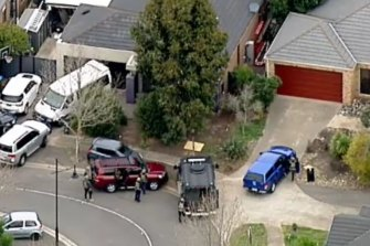 Screengrabs from Nine showing the arrest ofRicky Brockdorff at a home in Point Cook on Tuesday.