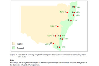 This map shows how dry the 2013 report expected NSW to be in 2030.