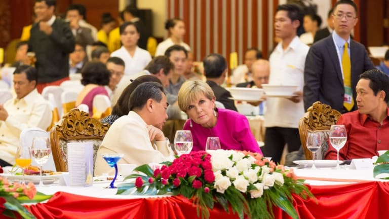 Former foreign minister Julie Bishop pictured with Chinas' foreign minister Wang Yi at an East Asia Summit.
