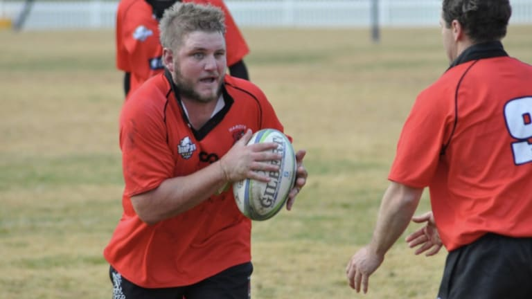 Harden Red Devils player Clint Stevens.