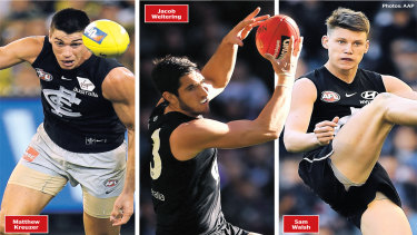 Stepping up: Outside of Paddy Cripps, the three best Carlton players on Saturday against the Brisbane Lions were their three No.1 draft picks.