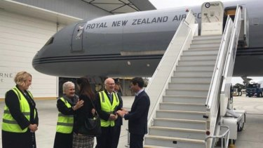 Prime Minister Jacinda Ardern arriving in Australia on the air force jet which broke down.