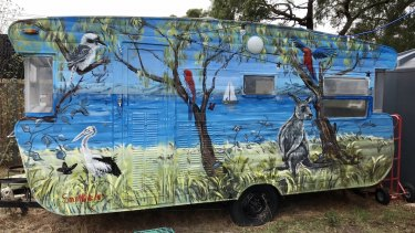 Simon White's first Loch Sport mural, painted on a caravan.