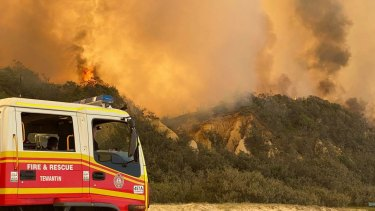 A picture taken by firefighters on Fraser Island last week showing the roaring flames.