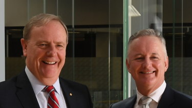 Nine chairman Peter Costello and chief executive Hugh Marks.