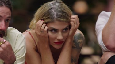 MAFS contestant Booka Nile reacts to the antics of Sunday's finale.