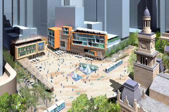An artist's impression of the proposed Town Hall Square.
