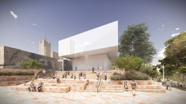An artist's impression of the Apple store at Federation Square.