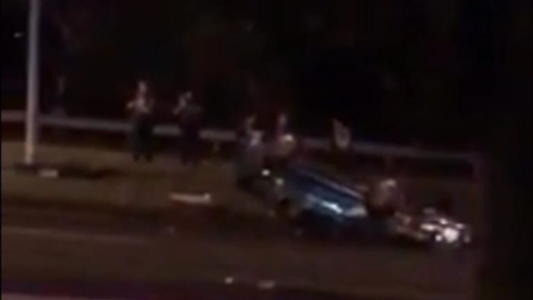 The Holden sedan landed on it's roof after losing control on the Prince's Highway.