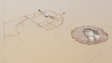 The remains of a cattle station on the Flinders River at the 20 Mile Reserve in north-west Queensland on Thursday.