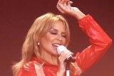 Australian singer Kylie Minogue starred at the Glastonbury Festival in 2019.
