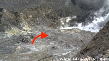 The arrow indicated people were on Whakaari or White Island, when the volcano erupted.