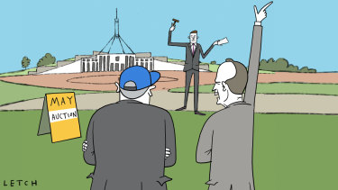 The federal election becomes a contest over tax cuts, but much else. Illustration: Simon Letch