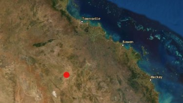 The location of the 4.9 magnitude earthquake in inland northern Queensland on Sunday.