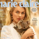 Elyse Knowles and koala joey Tink on the latest issue of Marie Claire.