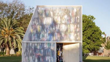 Raffaello Rosselli's award-winning temporary installation made from large bricks of plastic waste.
