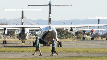 Dion Reynolds and Jessica O'Connor at Nelson Airport.