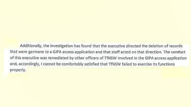 From the Information Commission's preliminary report into the deletion of records at Transport for NSW.