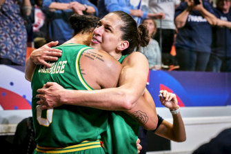 Australian Opals Liz Cambage and Marianna Tolo celebrate qualifying for Tokyo.