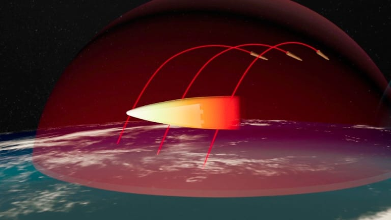 A computer image taken from a Russian propaganda video showing how the Avangard hypersonic vehicle evades missile defences.