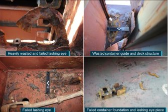 Photos from the ATSB report detailing the corrosion on fittings on the APL England.