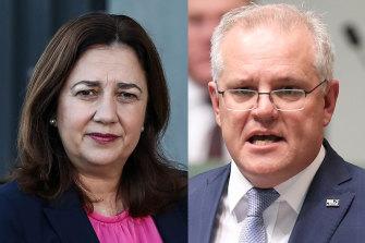 Queensland Premier Annastacia Palaszczuk and Prime Minister Scott Morrison.