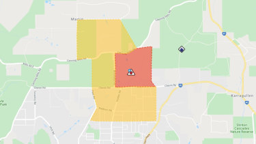 The Roleystone fire warning zone at noon on Friday December 13.
