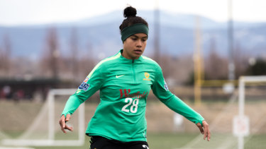 Mary Fowler training with the Matildas in the US earlier this year.