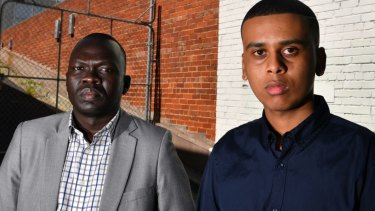 African community leaders Ahmed Hassan, right, and Richard Deng.