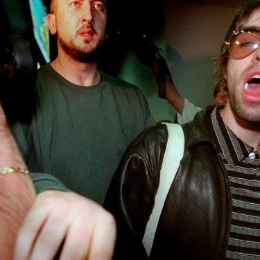 Liam Gallagher arriving in Australia in 1998.
