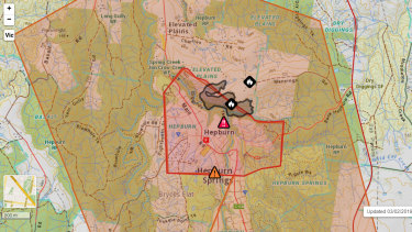 Map of the Hepburn and Hepburn Springs area affected by bushfires. VicEmergency have given an emergency warning for the area.