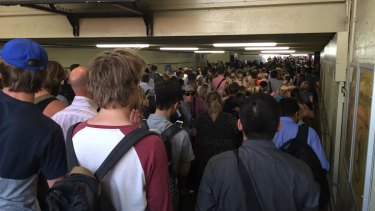 Crowds at Caulfield station during a line disruption in 2016.