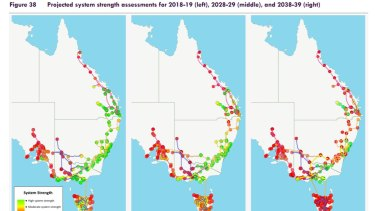 "Queensland remains on the fringe of the national electricity grid with ""poor"" connections shown in red."