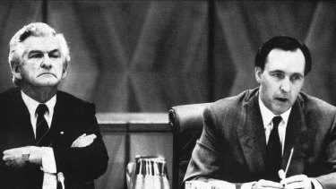 Bob Hawke and Paul Keating at a 1991 Premiers' conference during that year's recession.