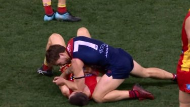 Jack Viney has been charged for this incident against the Gold Coast Suns'Sam Collins.