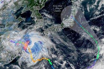 Typhoon Nepartak, right, heads for Japan on Saturday. On the left, typhoon In-Far.