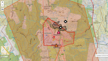 Map of theHepburnandHepburn Springs area affected by bushfires. VicEmergency have given an emergency warning for the area.