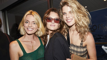 Lucinda Taffs, Montana Cox and Jessie Lawson at the Sunglass Hut House of Sun party at Regatta, Rose Bay, on Tuesday.