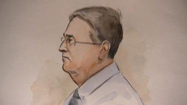 Sketch of Bradley Robert Edwards in WA Supreme Court on February 14, 2019