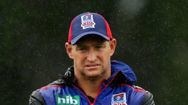 Gone ... Knights coach Nathan Brown jumped before he was pushed.