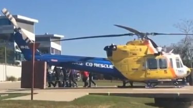 The 12-year-old girl arrives at Mackay Base Hospital.
