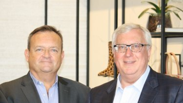 Myer's new CEO John King and executive chairman Garry Hounsell.