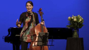 Zoe Knighton at the empty Athenaeum Theatre, performing for the Melbourne Digital Concert Hall.