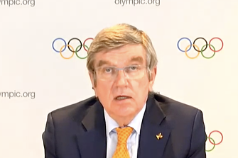 IOC President Thomas Bach discussing the Tokyo Olympics.