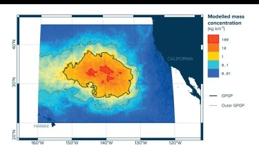 The location of Great Pacific Garbage Patch and the estimated concentration of plastic waste.
