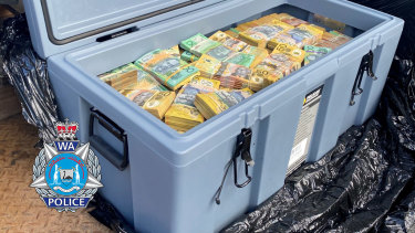 Police found the cash in tubs hidden in a truck.