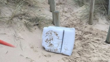 A seat cushion from the plane was found on a beach at Surtainville, France.